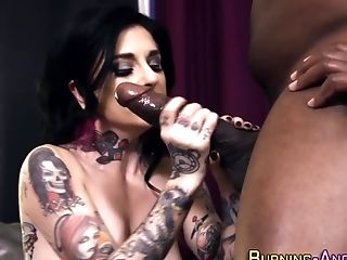 Cute goth chick fucks two black guys tmb