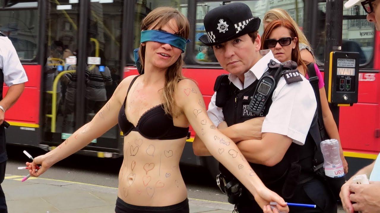 Russian girl undressing in public