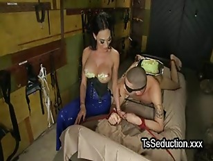 Tied guy licks cake from big tits of tranny and fucked