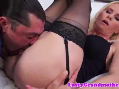 Slut in stockings foot fucks and gets plowed