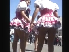 Seamed pantyhose ass short skirt outdoor public upskirt