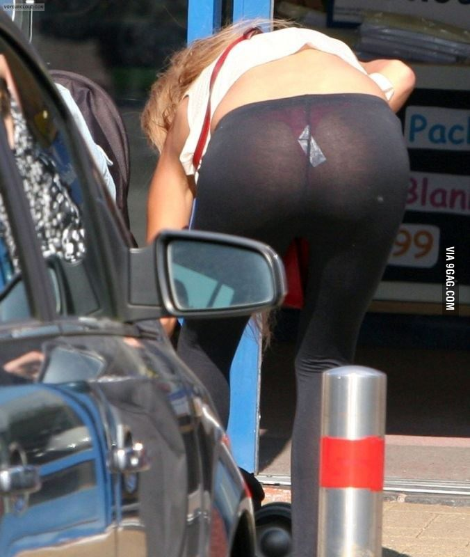 Candid see through yoga pants thong
