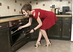 Chubby busty wife fucked doggystyle in the kitchen curvy