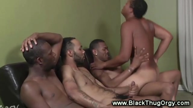 Sexy black thugs fuck threesome raw