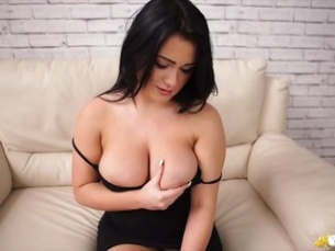 T retro babe hair covered pussy soft boobs sits floor